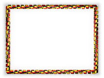 Frame and border of ribbon with the Belgium flag, edging from the golden rope. 3d illustration Stock Images