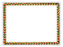 Frame and border of ribbon with the Benin flag, edging from the golden rope. 3d illustration Royalty Free Stock Photos