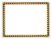 Frame and border of ribbon with the Bolivia flag, edging from the golden rope. 3d illustration Stock Images