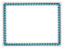 Frame and border of ribbon with the Botswana flag, edging from the golden rope. 3d illustration Stock Image