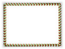 Frame and border of ribbon with the Bulgaria flag, edging from the golden rope. 3d illustration Stock Photo