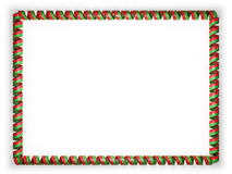 Frame and border of ribbon with the Burkina Faso flag, edging from the golden rope. 3d illustration Royalty Free Stock Image