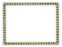 Frame and border of ribbon with the Burundi flag, edging from the golden rope. 3d illustration Royalty Free Stock Photo