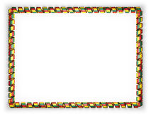 Frame and border of ribbon with the Cameroon flag, edging from the golden rope. 3d illustration Royalty Free Stock Photos