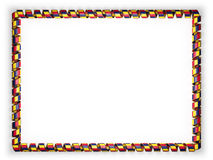 Frame and border of ribbon with the Chad flag, edging from the golden rope. 3d illustration Royalty Free Stock Photo