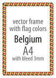 Frame and border of ribbon with the colors of the Belgium flag Royalty Free Stock Images