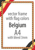Frame and border of ribbon with the colors of the Belgium flag Stock Photography