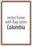 Frame and border of ribbon with the colors of the Colombia flag Royalty Free Stock Images