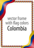 Frame and border of ribbon with the colors of the Colombia flag Stock Images