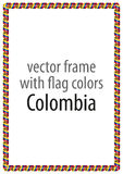 Frame and border of ribbon with the colors of the Colombia flag Royalty Free Stock Photography