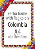 Frame and border of ribbon with the colors of the Colombia flag Stock Photography