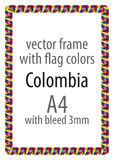 Frame and border of ribbon with the colors of the Colombia flag Royalty Free Stock Image
