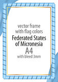 Frame and border of ribbon with the colors of the Federated States of Micronesia flag Royalty Free Stock Image