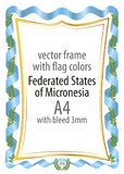 Frame and border of ribbon with the colors of the Federated States of Micronesia flag Royalty Free Stock Photography