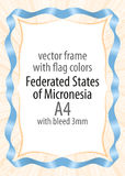Frame and border of ribbon with the colors of the Federated States of Micronesia flag Royalty Free Stock Photos
