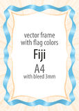 Frame and border of ribbon with the colors of the Fiji flag Royalty Free Stock Image