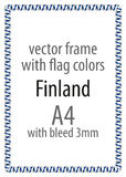 Frame and border of ribbon with the colors of the Finland flag.  Royalty Free Stock Image