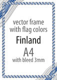 Frame and border of ribbon with the colors of the Finland flag.  Royalty Free Stock Photo