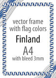 Frame and border of ribbon with the colors of the Finland flag.  Royalty Free Stock Photos