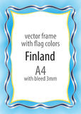 Frame and border of ribbon with the colors of the Finland flag.  Royalty Free Stock Images