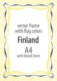 Frame and border of ribbon with the colors of the Finland flag.  Stock Photo