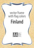 Frame and border of ribbon with the colors of the Finland flag, template elements for your certificate and diploma. Vector, with b. Leed three mm Stock Images