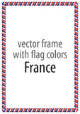 Frame and border of ribbon with the colors of the France flag Stock Photos