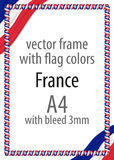 Frame and border of ribbon with the colors of the France flag.  Royalty Free Stock Image