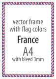 Frame and border of ribbon with the colors of the France flag.  Stock Photos