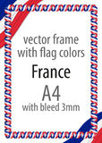 Frame and border of ribbon with the colors of the France flag.  Stock Photography