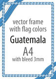 Frame and border of ribbon with the colors of the Guatemala flag Stock Photos