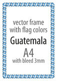 Frame and border of ribbon with the colors of the Guatemala flag Stock Photography