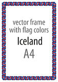Frame and border of ribbon with the colors of the Iceland flag Stock Photo