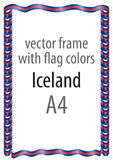 Frame and border of ribbon with the colors of the Iceland flag Royalty Free Stock Images