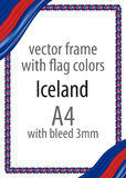 Frame and border of ribbon with the colors of the Iceland flag Stock Photos