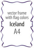 Frame and border of ribbon with the colors of the Iceland flag Royalty Free Stock Image