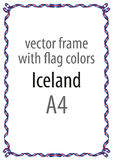 Frame and border of ribbon with the colors of the Iceland flag Royalty Free Stock Photography