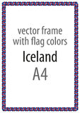 Frame and border of ribbon with the colors of the Iceland flag Stock Image