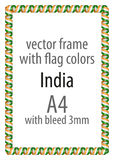 Frame and border of ribbon with the colors of the India flag Royalty Free Stock Photo