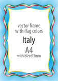 Frame and border of ribbon with the colors of the Italy flag Stock Photo