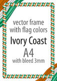 Frame and border of ribbon with the colors of the Ivory Coast flag Royalty Free Stock Photos