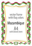 Frame and border of ribbon with the colors of the Mozambique flag.  Royalty Free Stock Images
