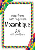 Frame and border of ribbon with the colors of the Mozambique flag.  Stock Photography