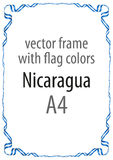Frame and border of ribbon with the colors of the Nicaragua flag Royalty Free Stock Photography