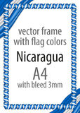Frame and border of ribbon with the colors of the Nicaragua flag stock photos