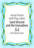 Frame and border of ribbon with the colors of the Saint Vincent and the Grenadines flag Royalty Free Stock Image