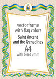 Frame and border of ribbon with the colors of the Saint Vincent and the Grenadines flag Stock Images