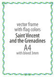 Frame and border of ribbon with the colors of the Saint Vincent and the Grenadines flag Royalty Free Stock Photo