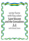 Frame and border of ribbon with the colors of the Saint Vincent and the Grenadines flag Stock Image