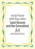 Frame and border of ribbon with the colors of the Saint Vincent and the Grenadines flag Royalty Free Stock Images